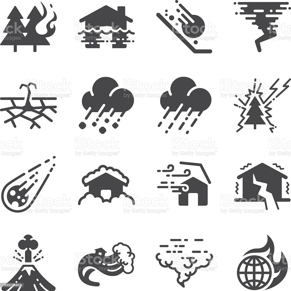 Disaster icons set vector art illustration
