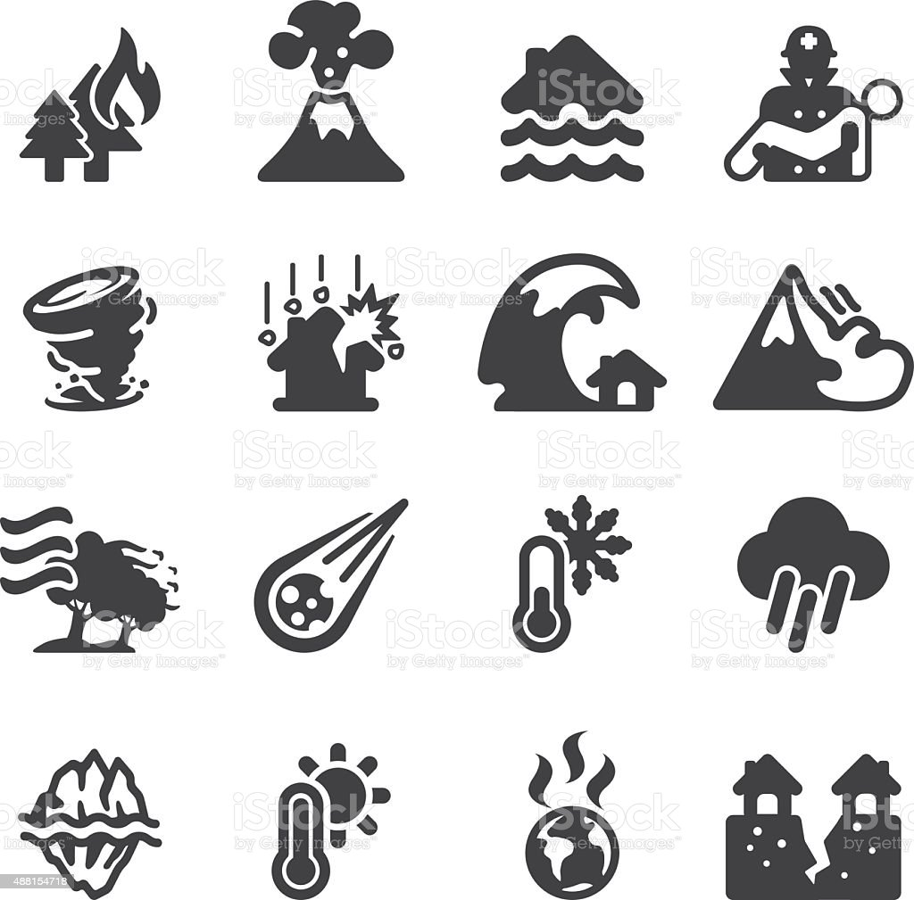 Disaster Silhouette icons   EPS10 vector art illustration