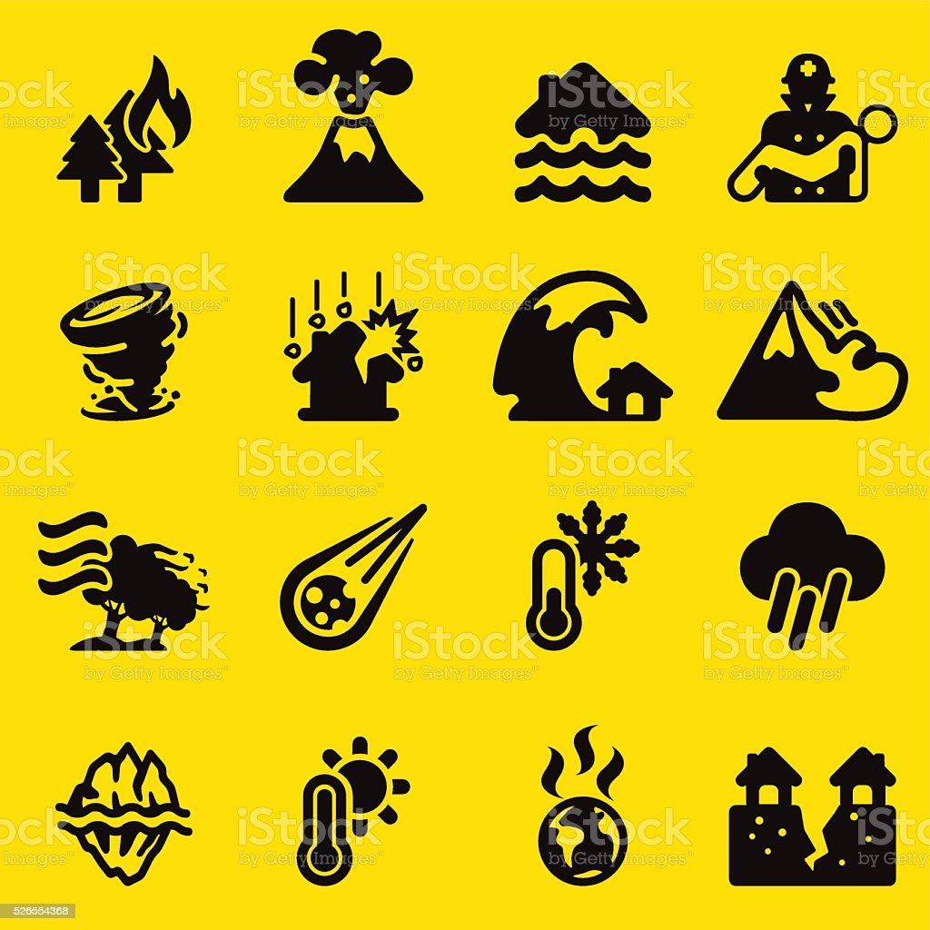 Disaster Yellow Silhouette icons   EPS10 vector art illustration