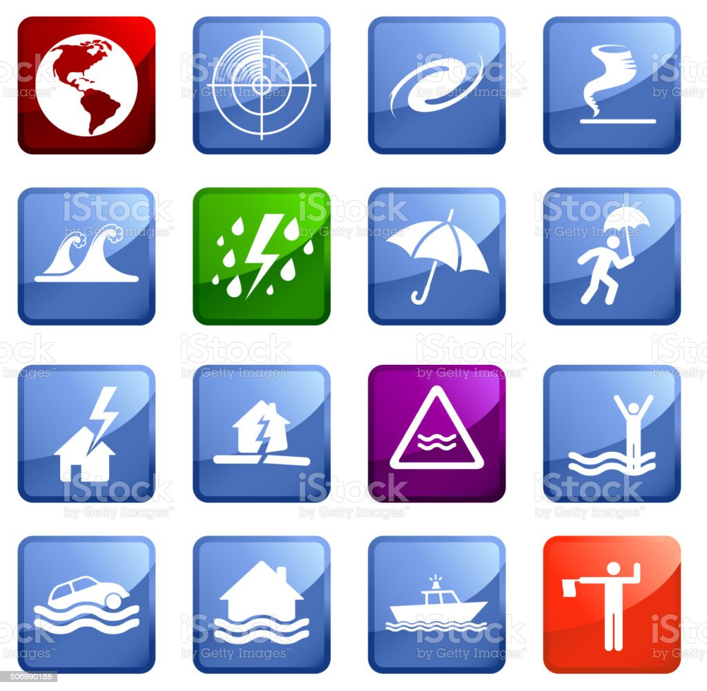Disasters  icon set on white background. vector art illustration