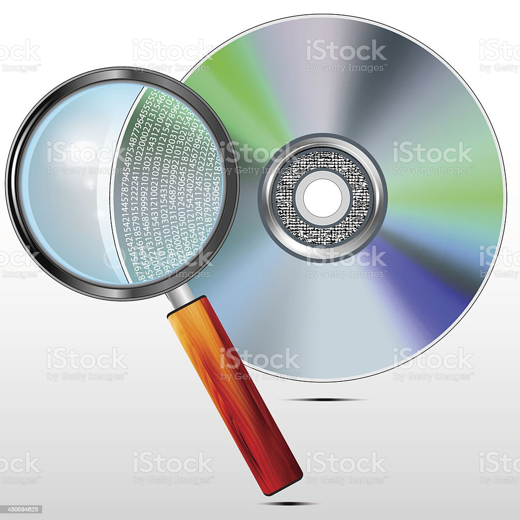 DVD disc and magnifying glass royalty-free stock vector art