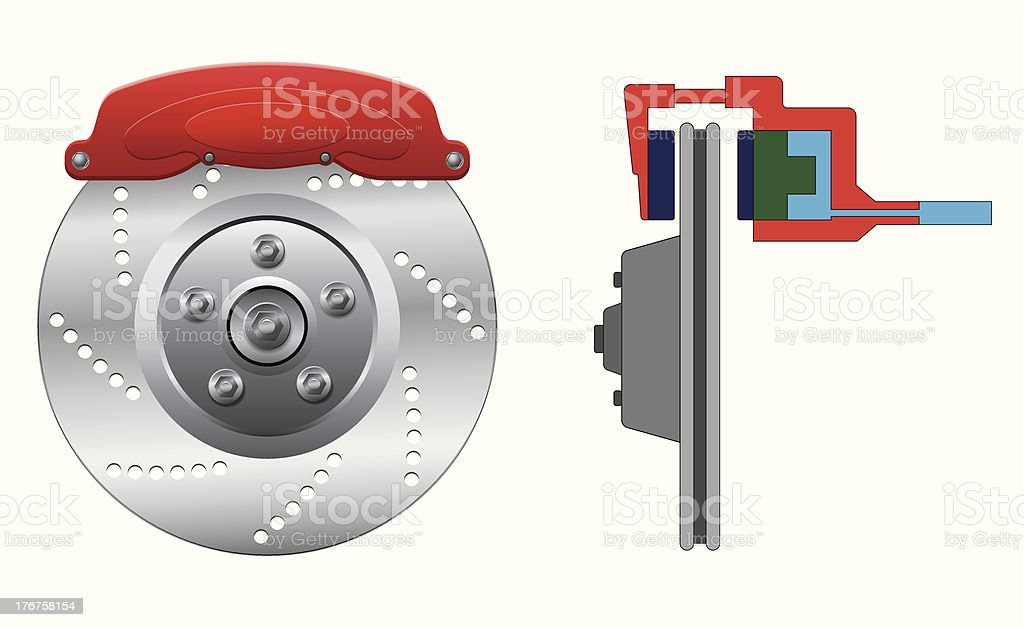 Disc brake with caliper vector art illustration