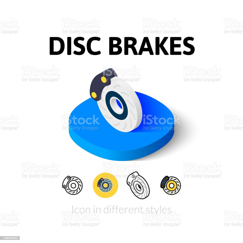 Disc brakes icon in different style vector art illustration