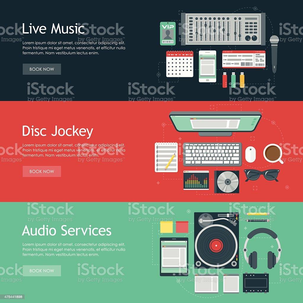 Disc Jockey Flat Design Web Banners Icon Sets vector art illustration
