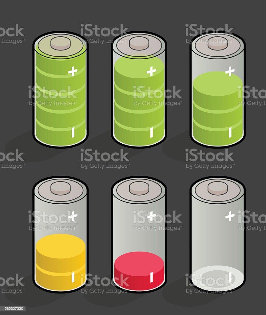 discharging batteries vector art illustration