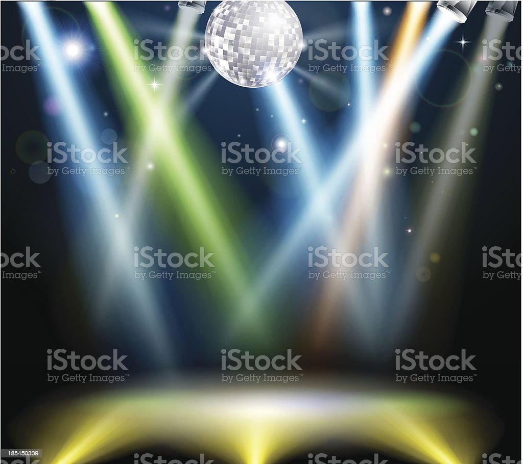 Disco ball dance floor vector art illustration