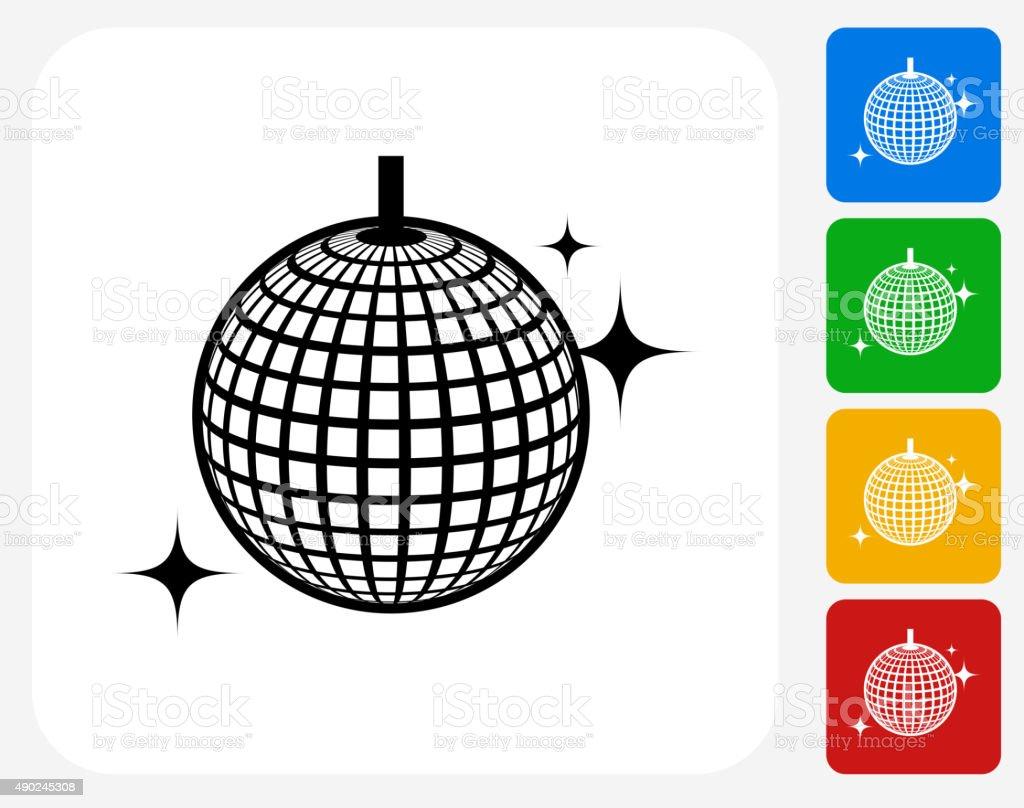 Disco Ball Icon Flat Graphic Design vector art illustration