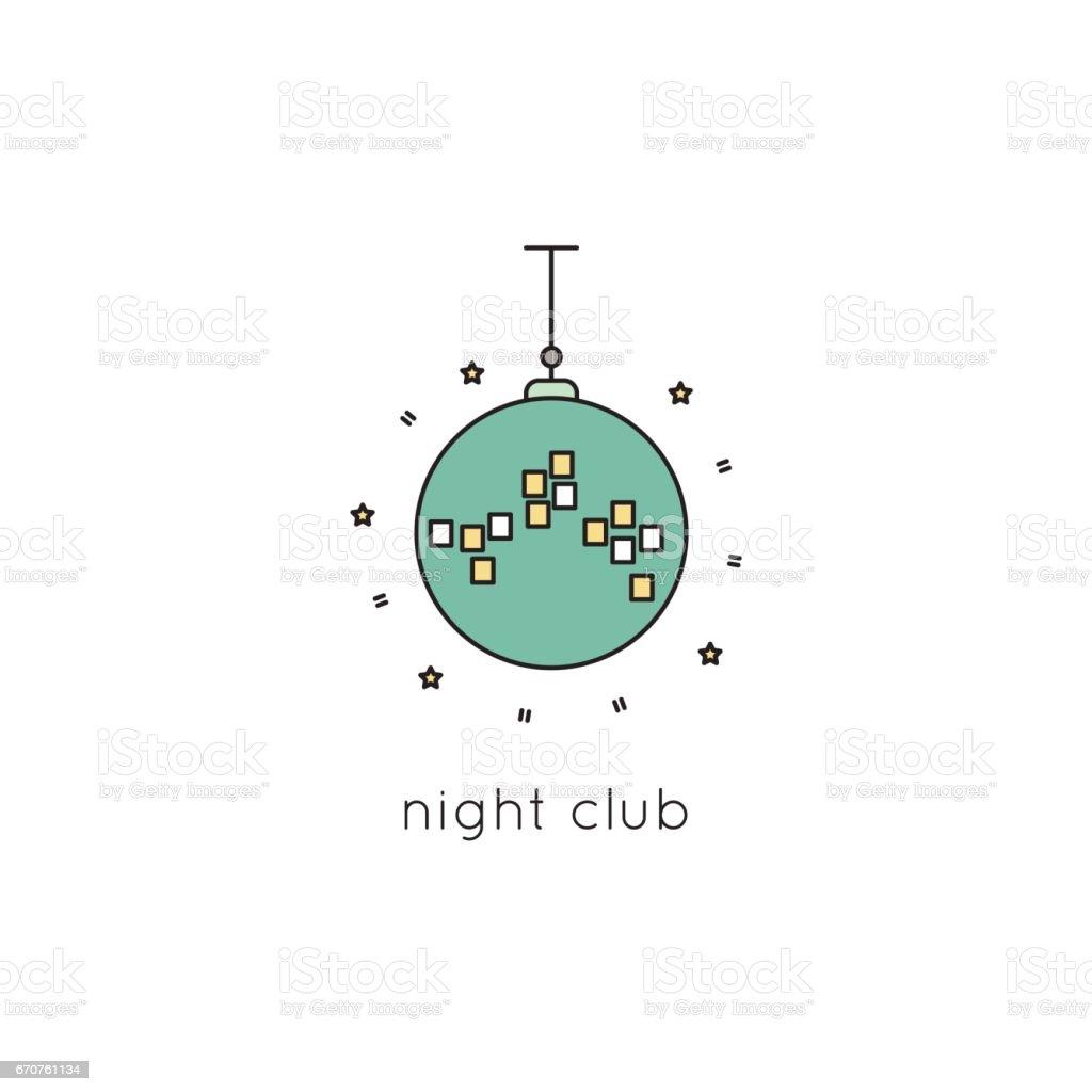 Disco ball line icon vector art illustration