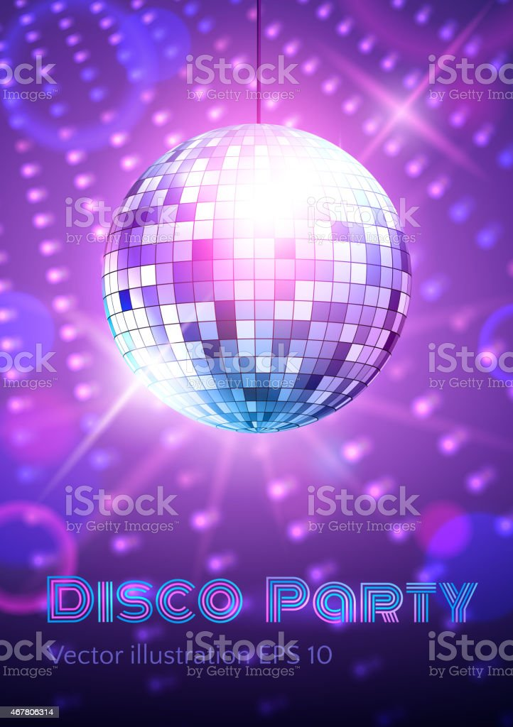 Disco ball on disco lights background. vector art illustration