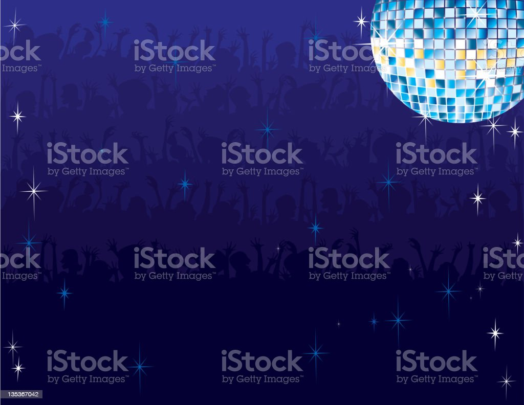 Disco Ball Party Crowd Background vector art illustration