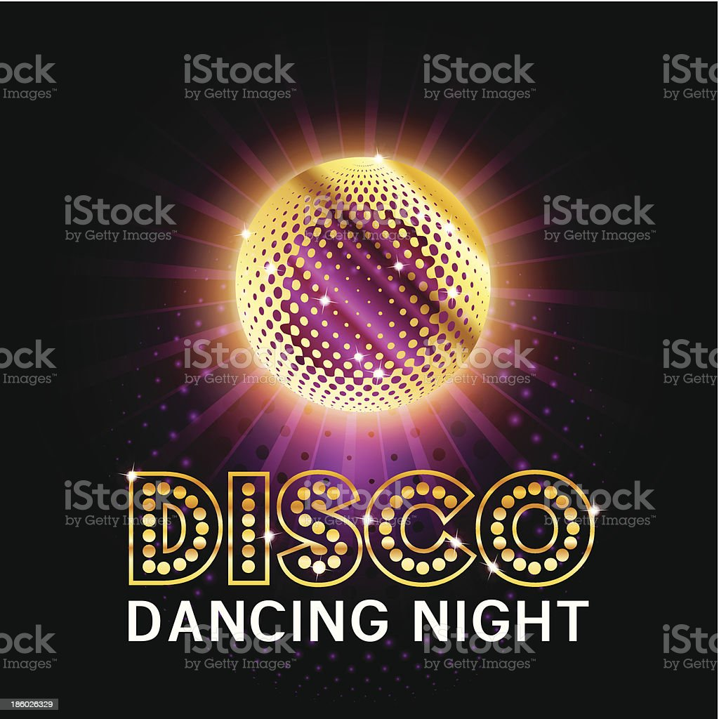 Disco Ball with glittering sign vector art illustration