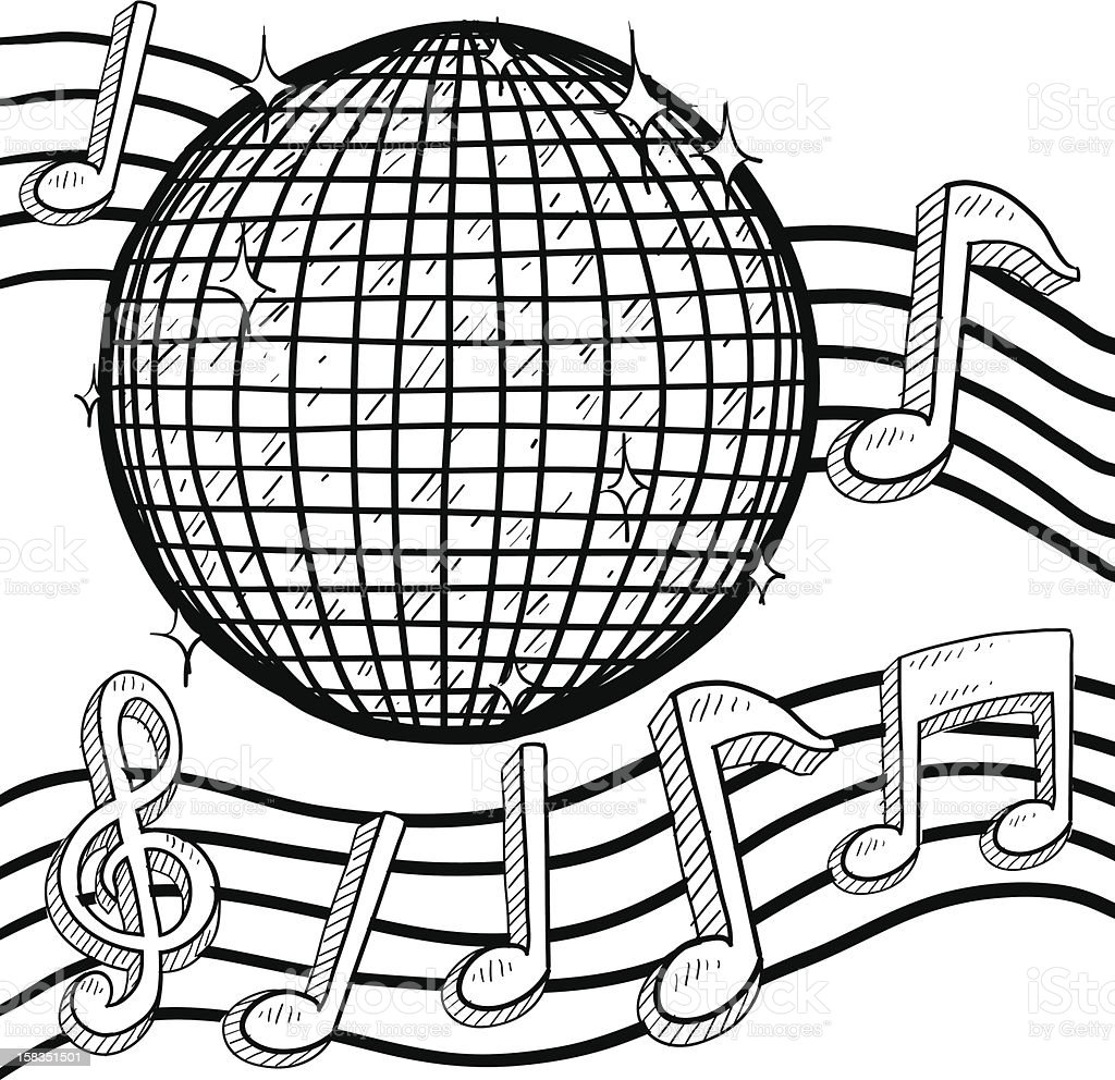 Disco ball with music notes sketch vector art illustration