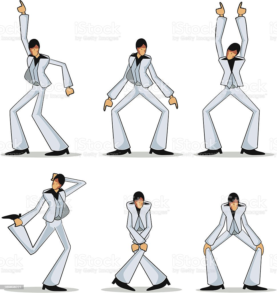 Disco Dancer Bustin' Moves - Collection royalty-free stock vector art