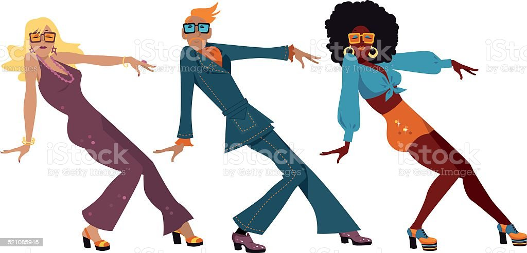 Disco dancers vector art illustration