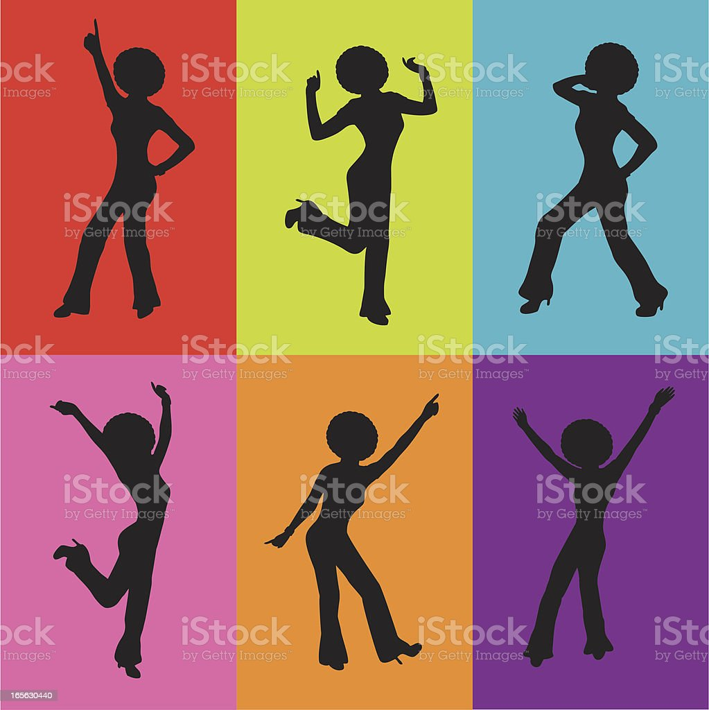 Disco Lady Silhouettes vector art illustration