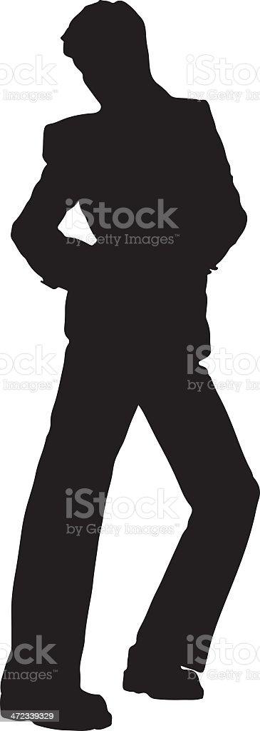 Disco man dancing silhouette royalty-free stock vector art
