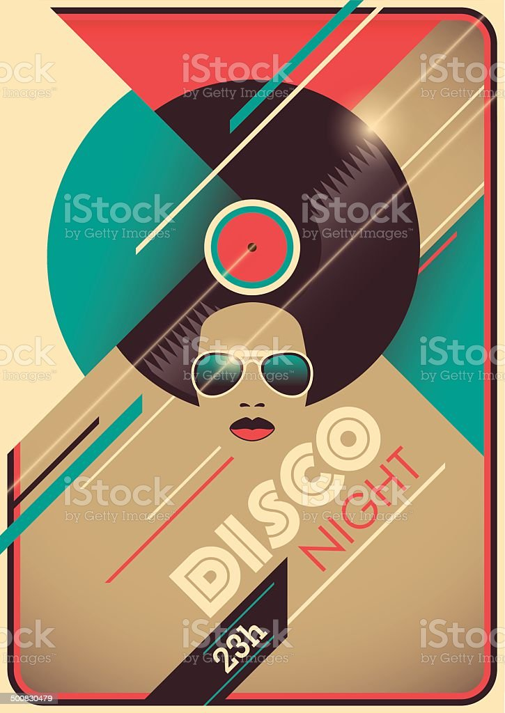 Disco night poster design. vector art illustration