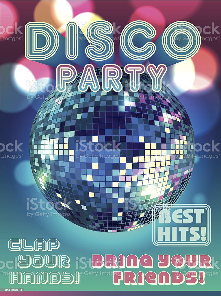 Disco party poster vector art illustration