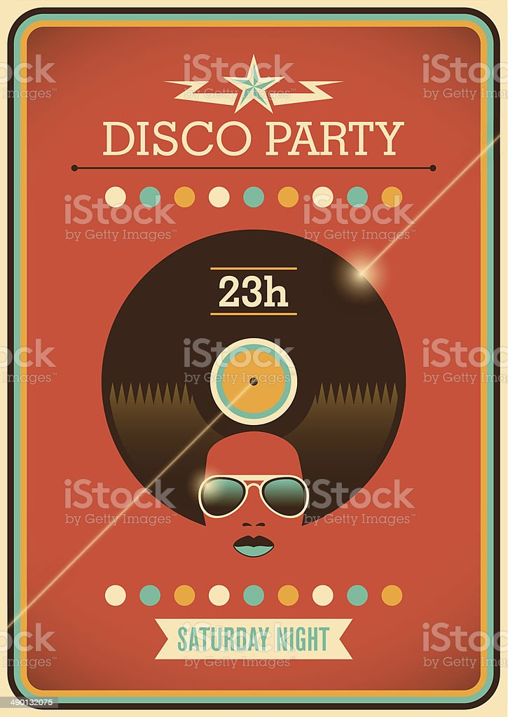 Disco party poster with retro design elements. vector art illustration