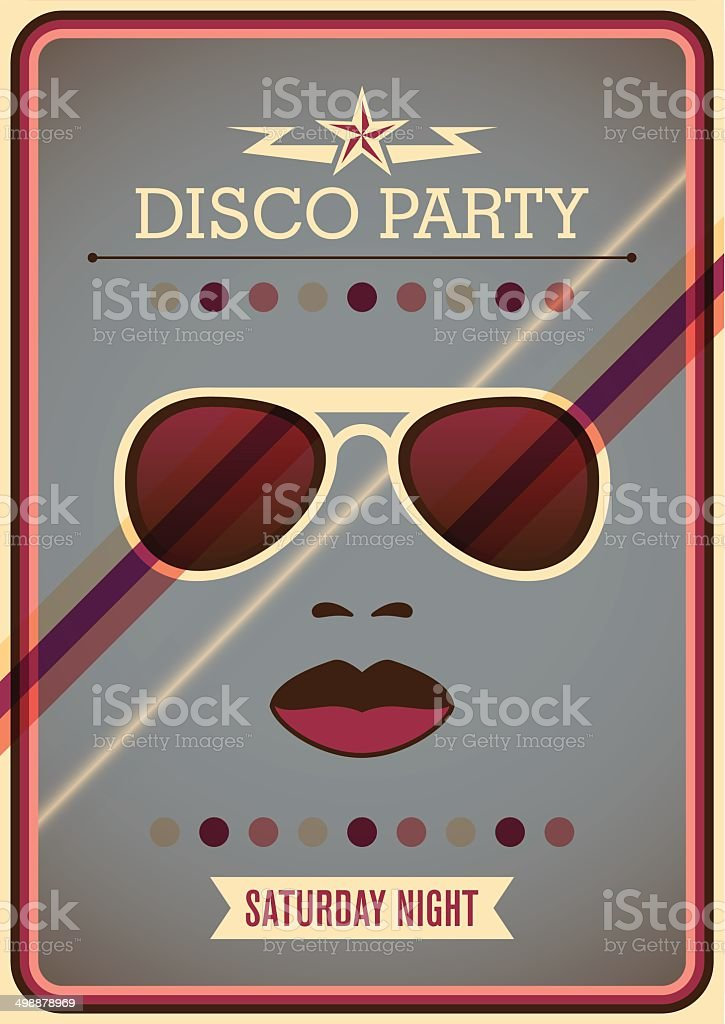 Disco party poster with sunglasses. vector art illustration