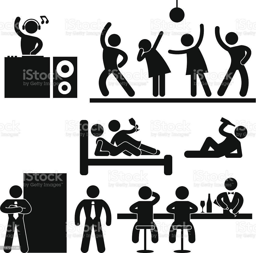 Disco Pub Night Club Party Pictogram vector art illustration