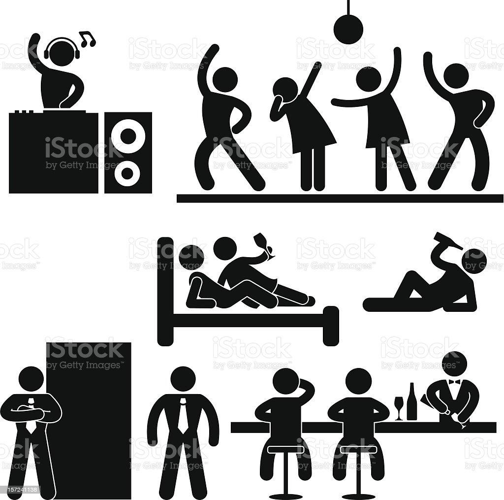 Disco Pub Night Club Party Pictogram vector art illustration