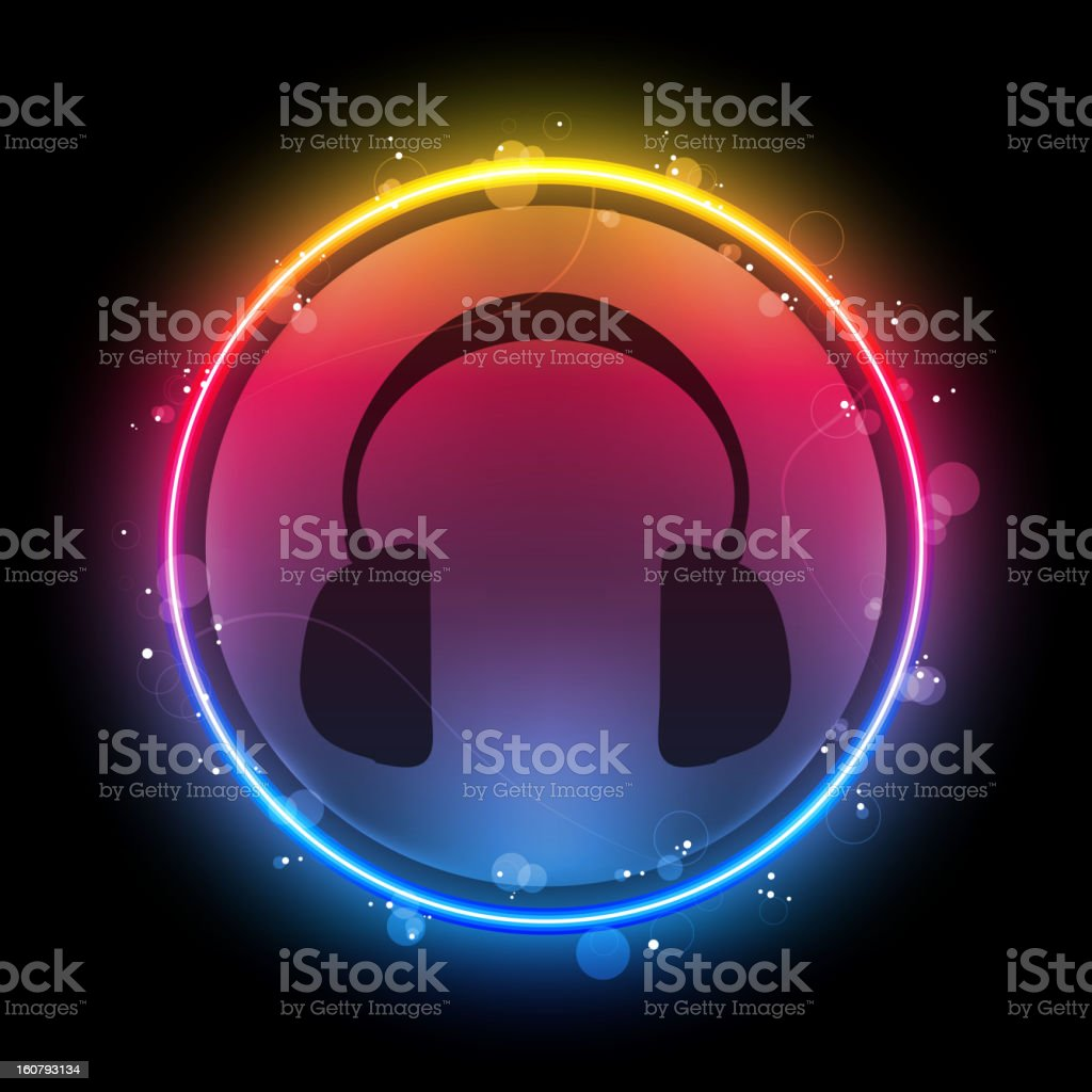 Disco Speaker with Neon Circle vector art illustration
