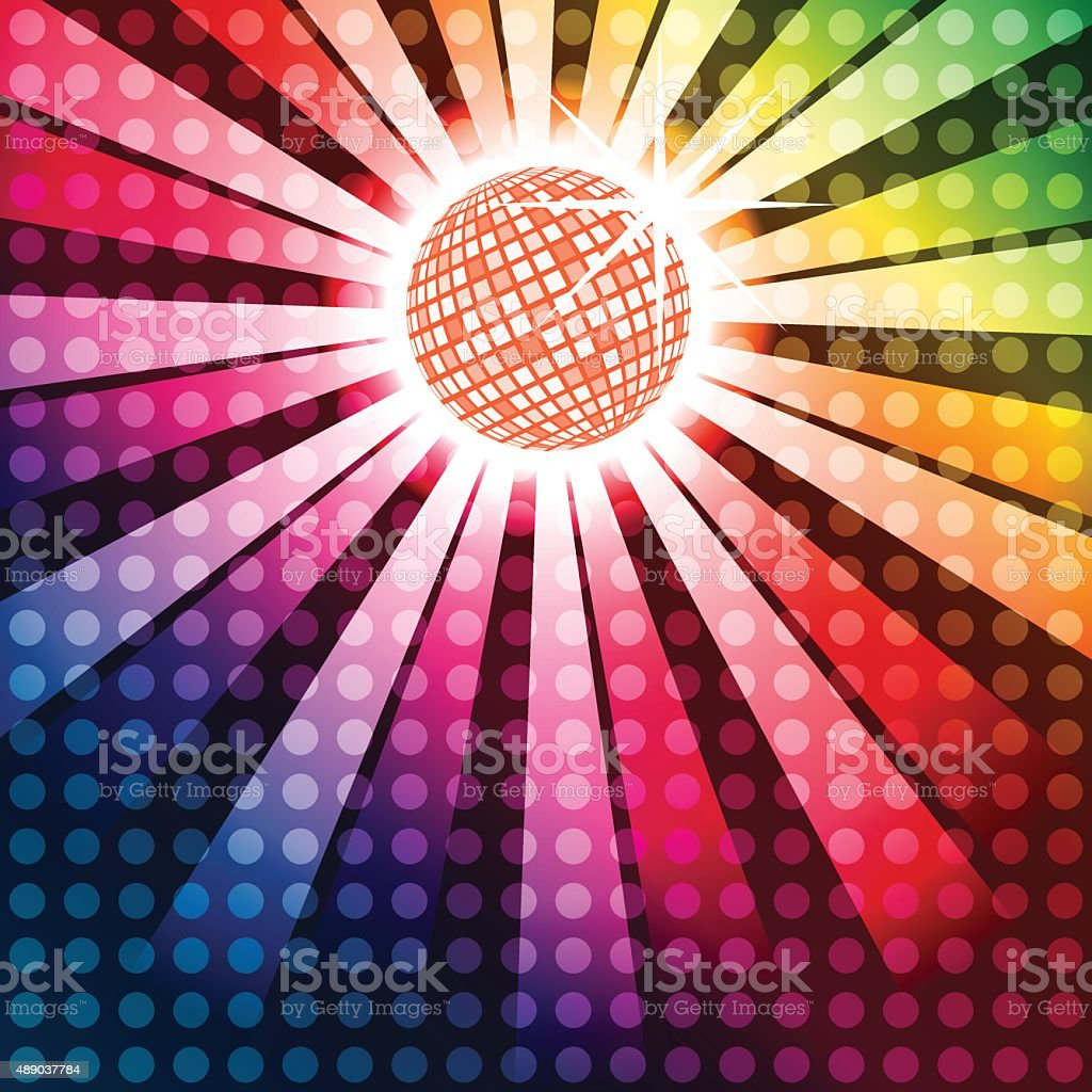Discoball with funky rainbow background vector art illustration