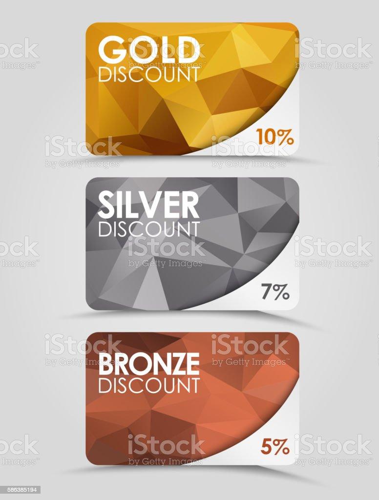 Discount cards polygonal background vector art illustration