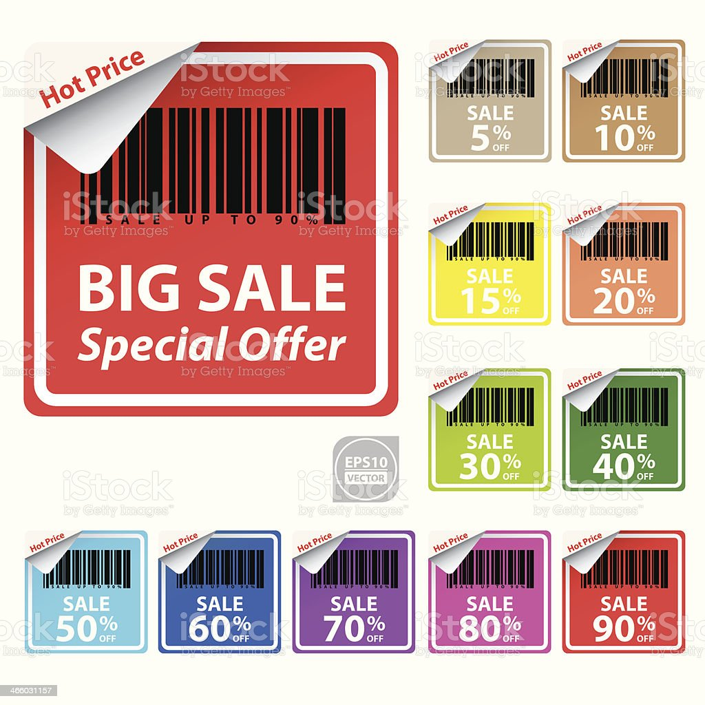 Discount colorful labels sale 5 - 90 percent. royalty-free stock vector art