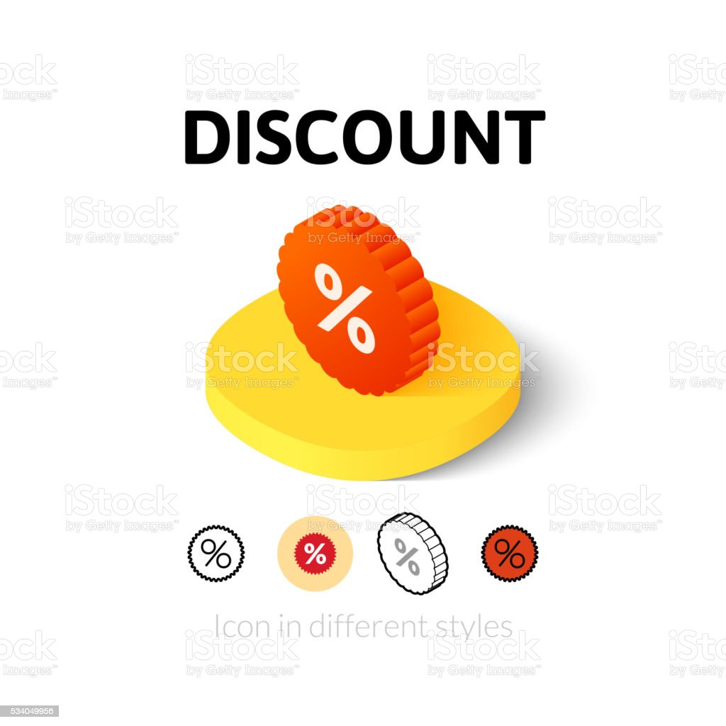 Discount icon in different style vector art illustration