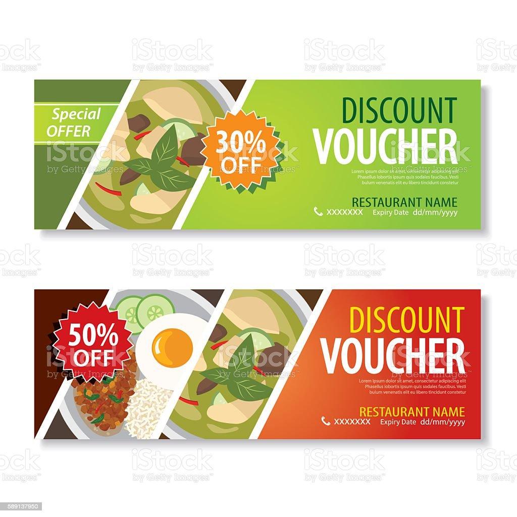 discount voucher template with thai food flat design vector art illustration