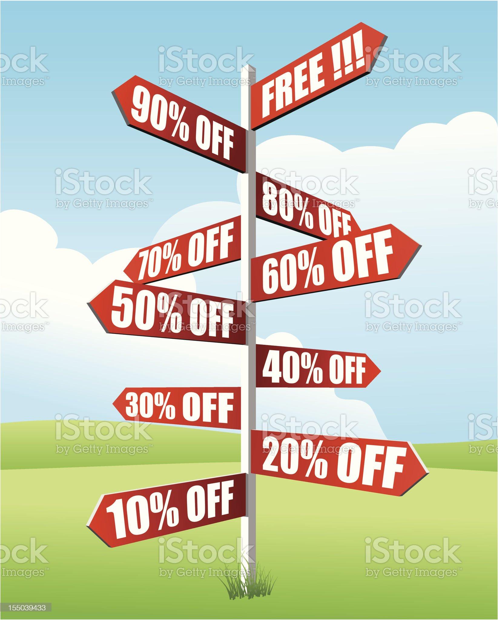 Discounts Signpost royalty-free stock vector art