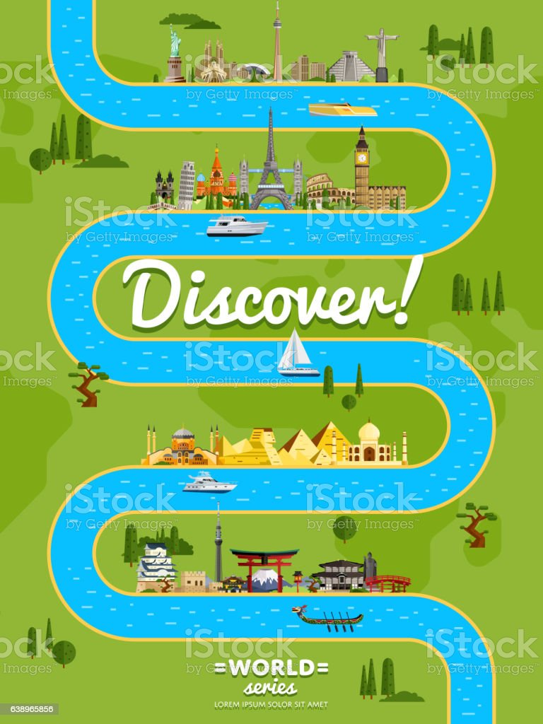 Discover the world poster with famous attractions vector art illustration