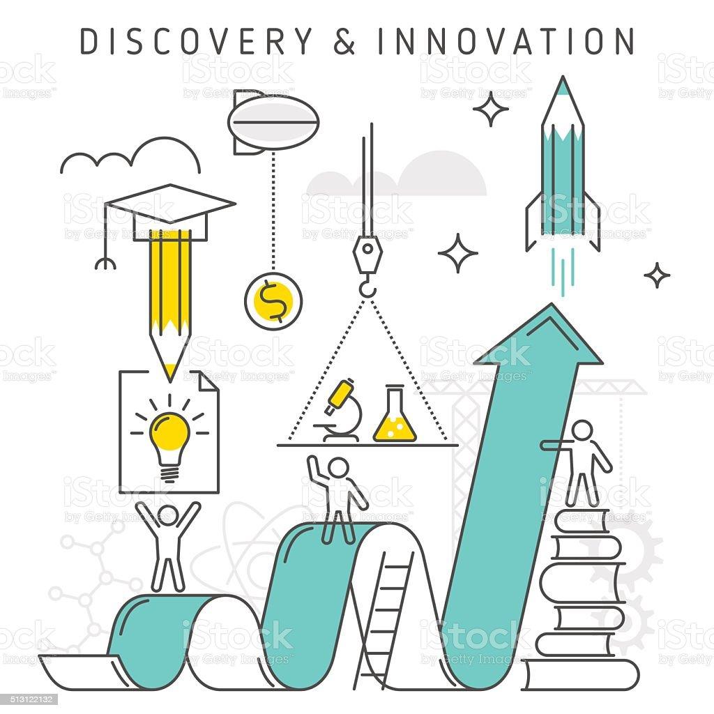 Discovery and Innovation vector art illustration