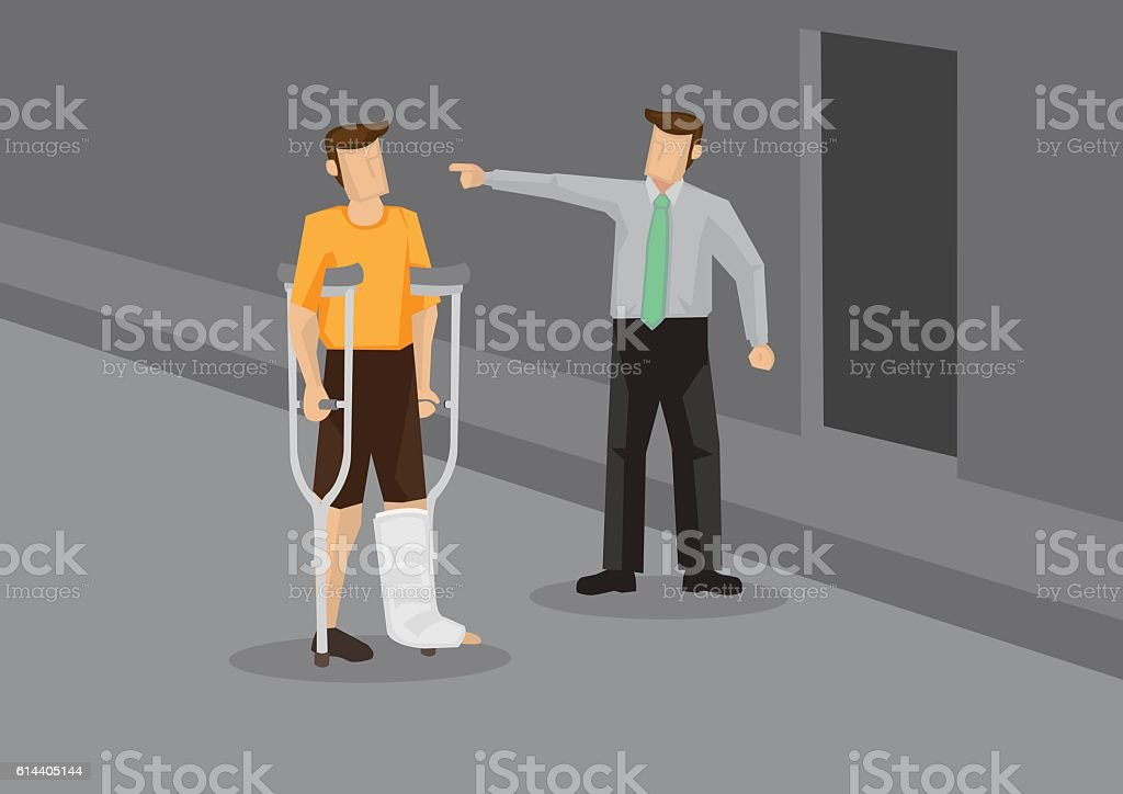 Discrimination Against Injured Employee Conceptual Vector Illust vector art illustration
