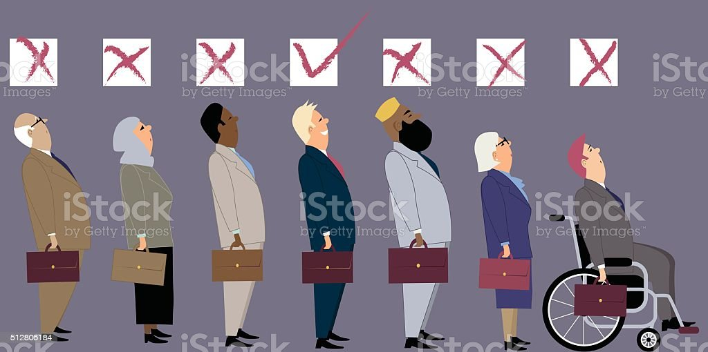 Discrimination at job interview vector art illustration