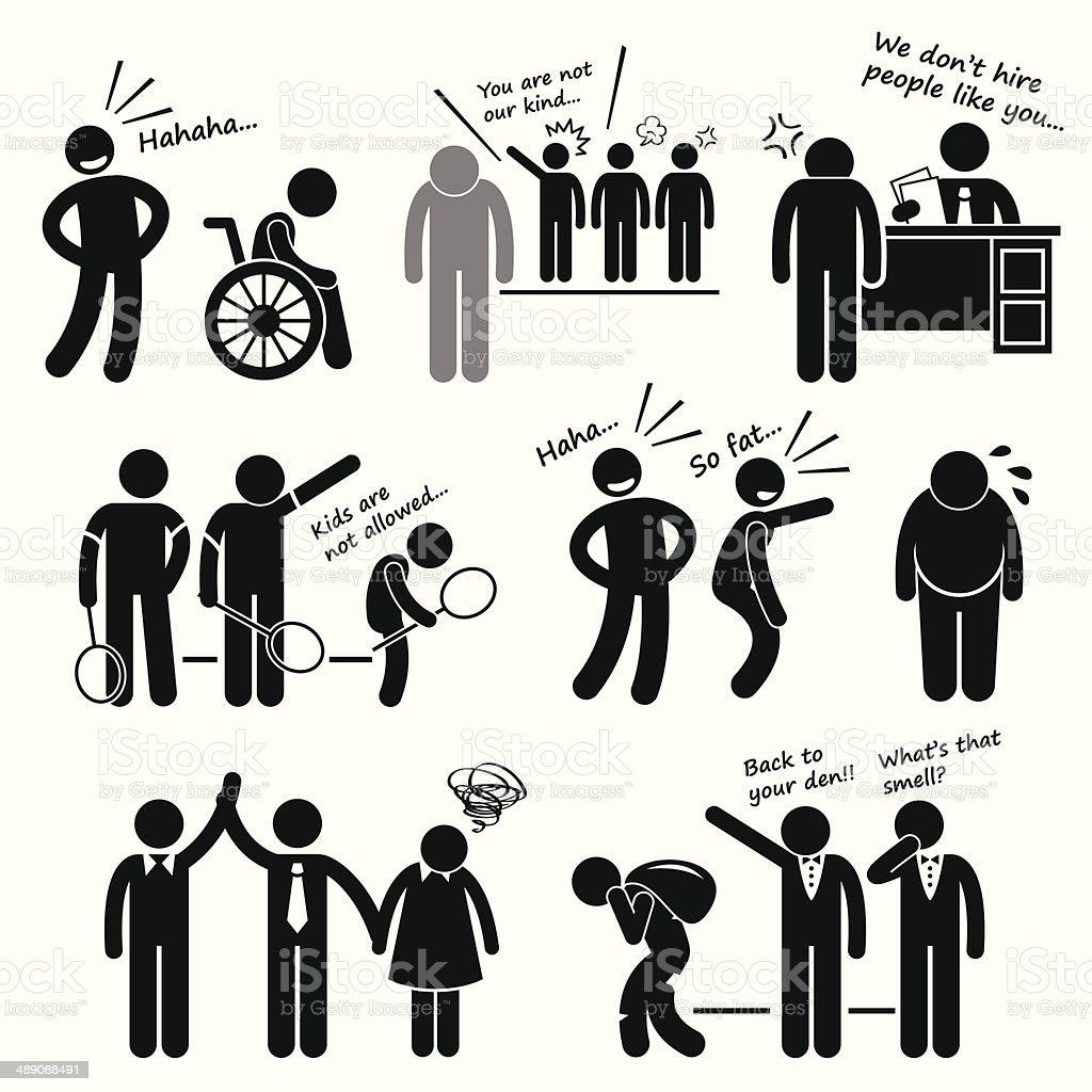 Discrimination Racist Prejudice Biased Cliparts vector art illustration