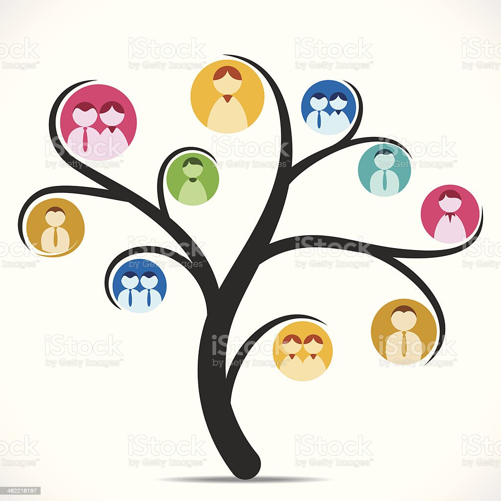 discussion tree vector art illustration