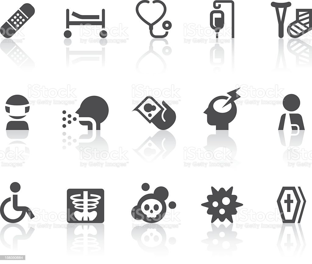 Disease Icons | Simple Black Series vector art illustration