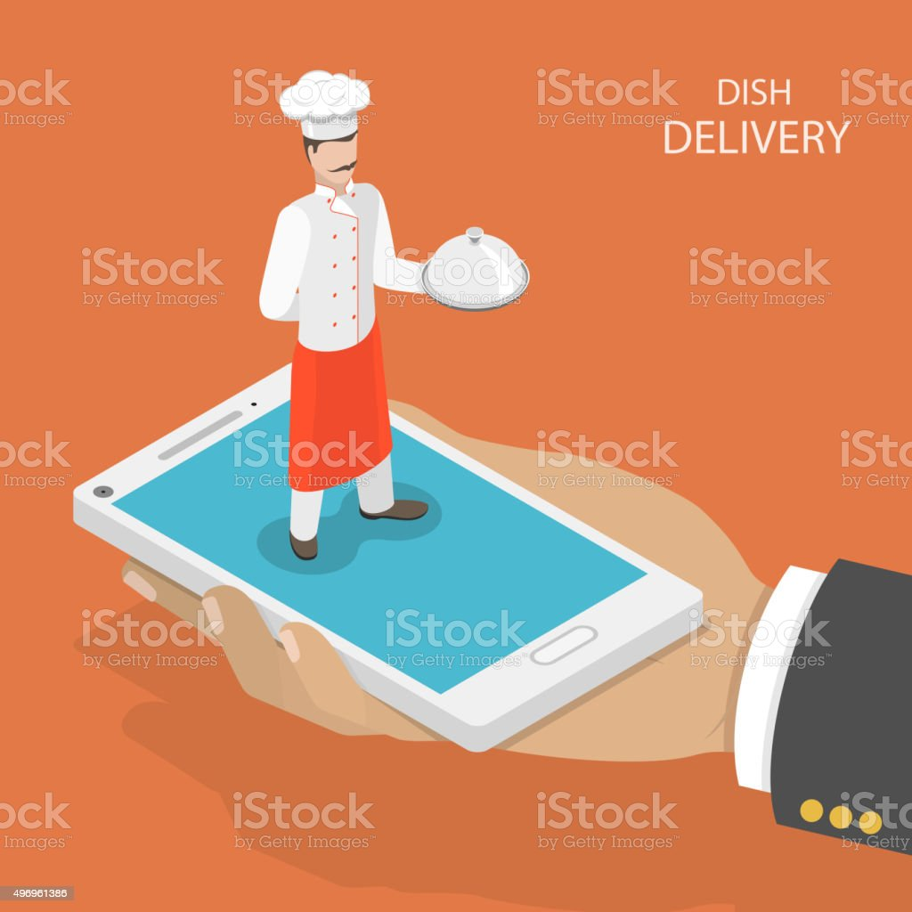 Dish fast delivery flat isometric vector concept. vector art illustration