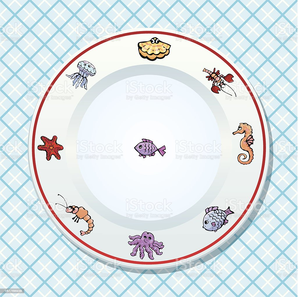 Dish on checked tablecloth background royalty-free stock vector art