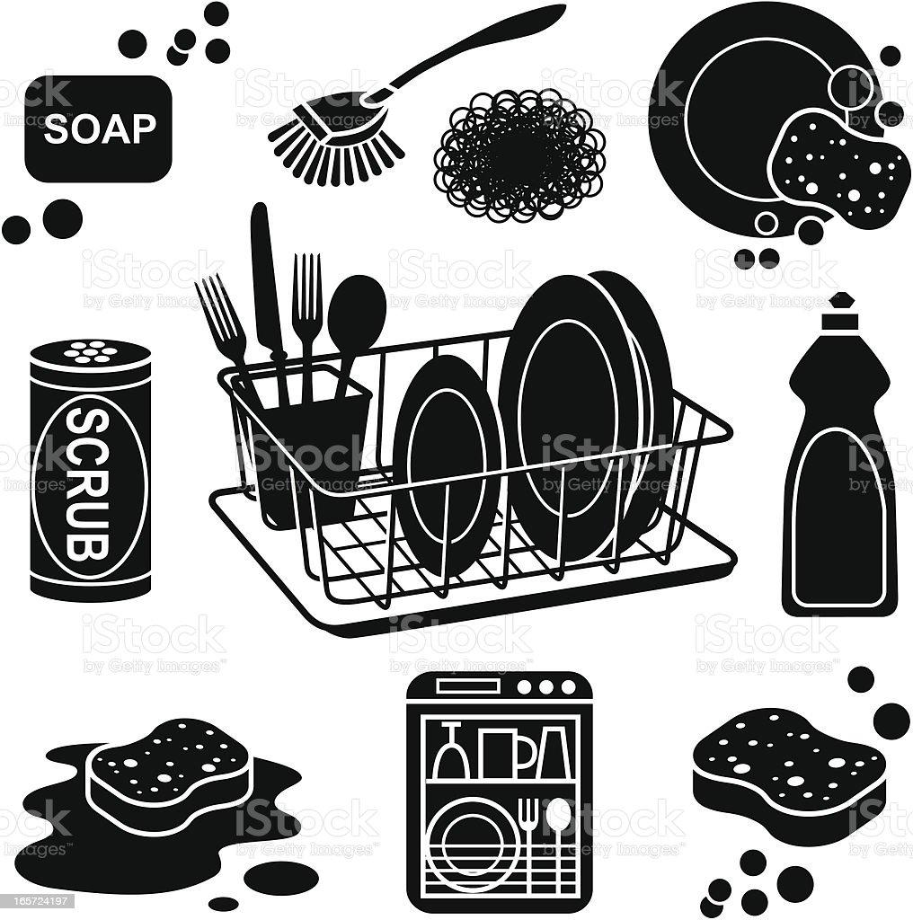 dish washing icons vector art illustration