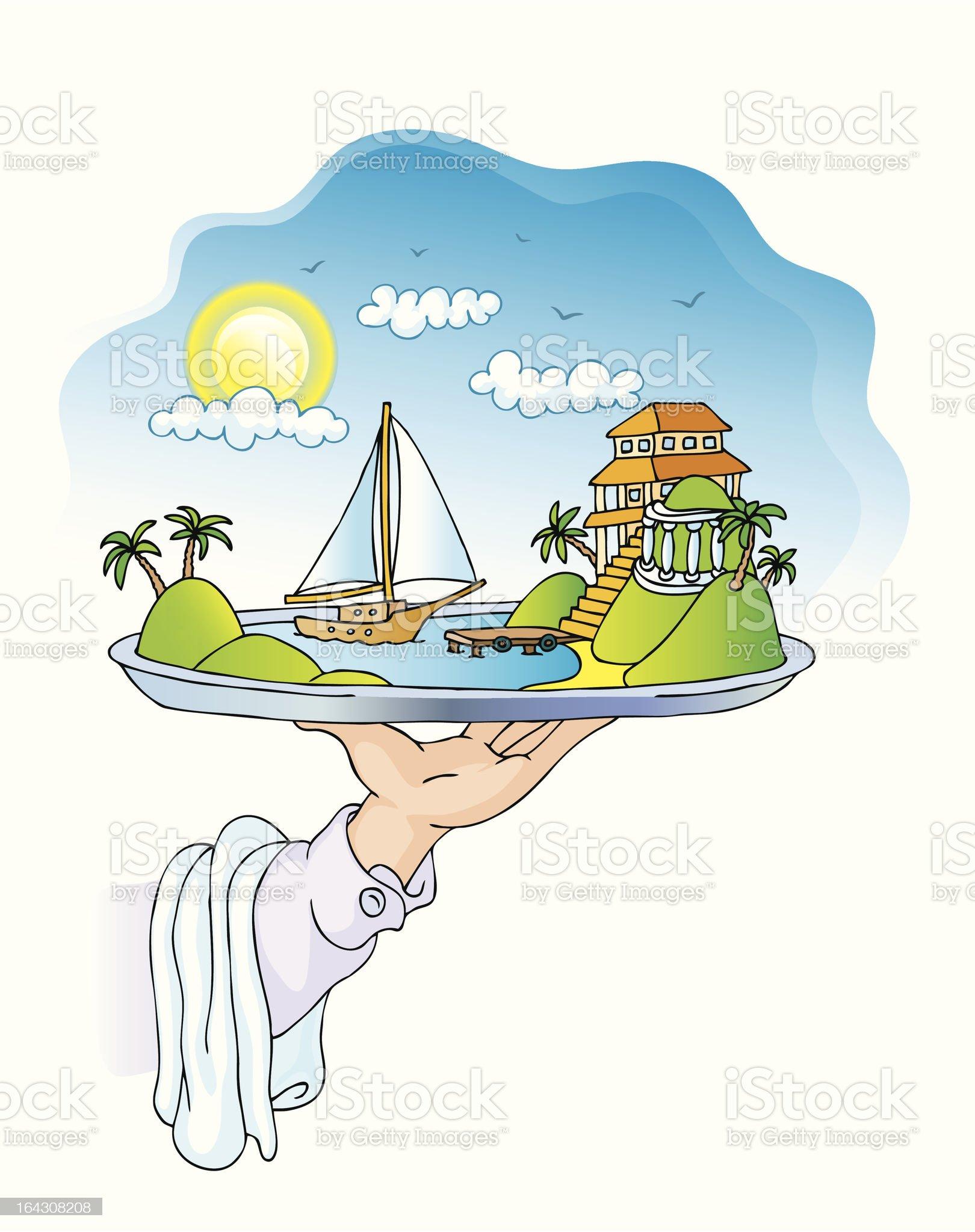 dish with a sea bay royalty-free stock vector art