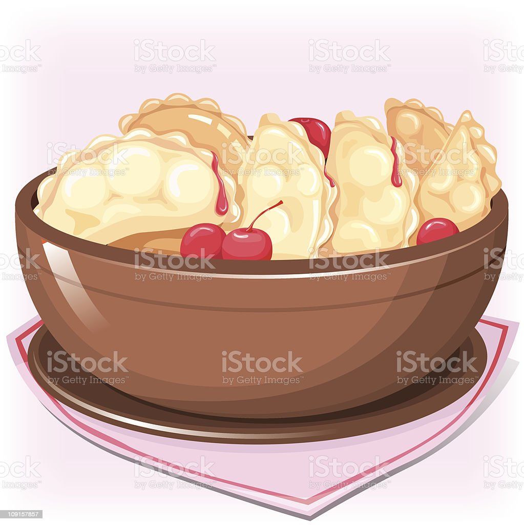 Dish with cherry dumplings royalty-free stock vector art