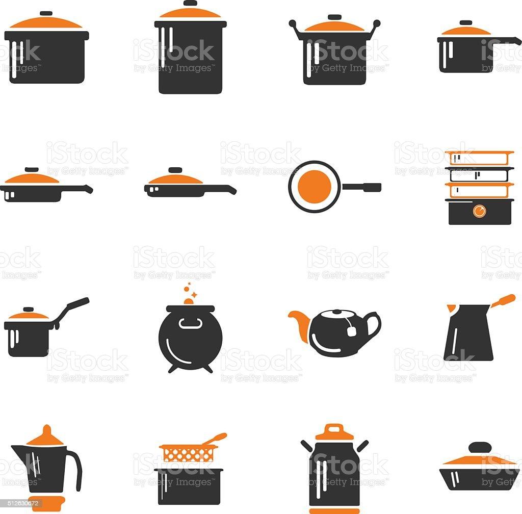 Dishes icons set vector art illustration