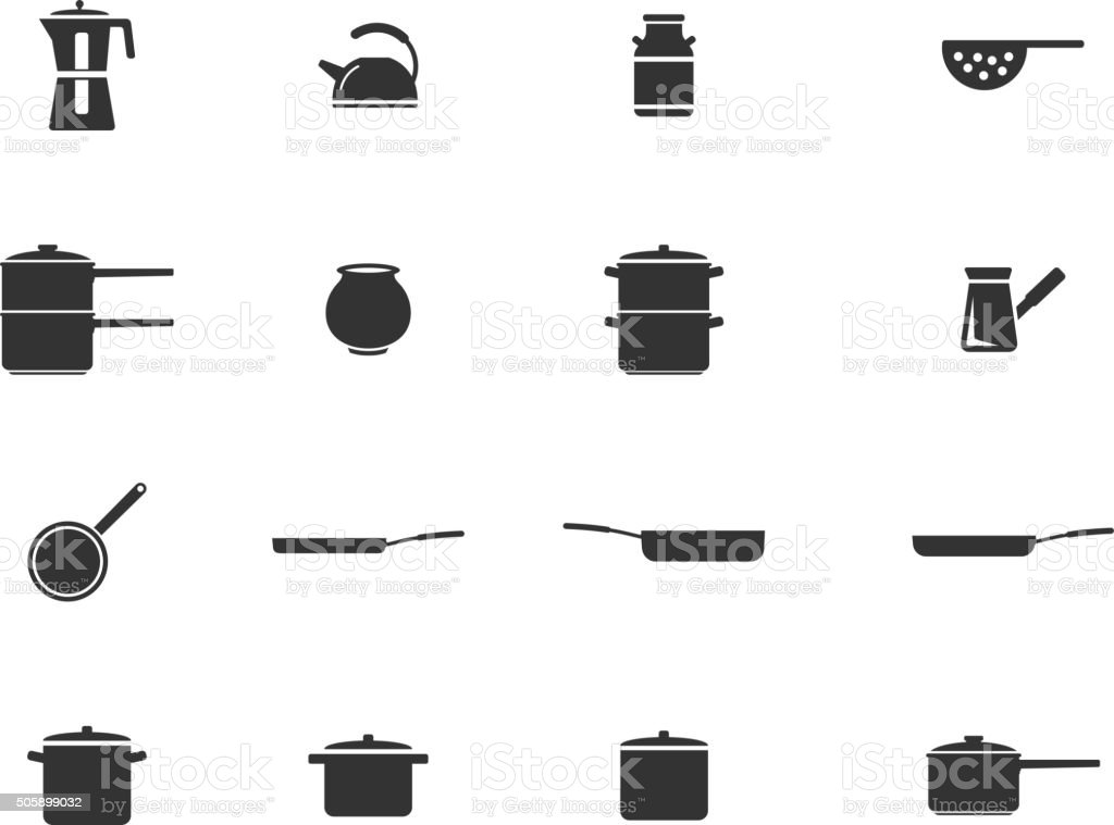 Dishes simply icons vector art illustration