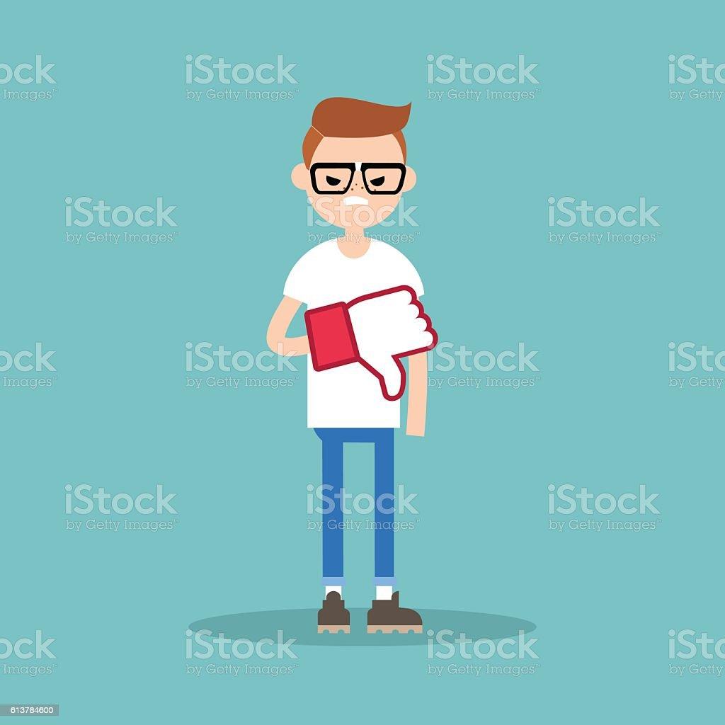 Dislike concept. Displeased nerd boy wearing foam finger vector art illustration