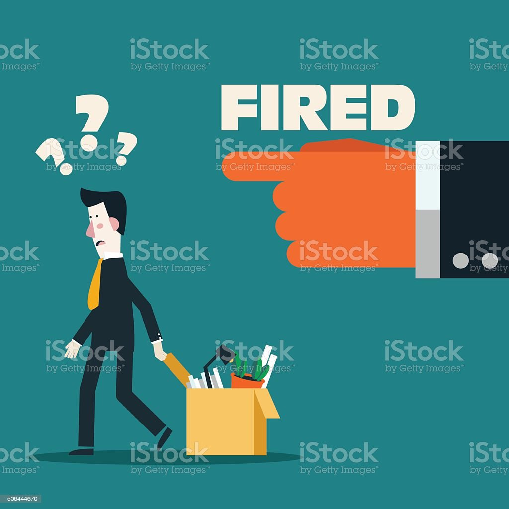 Dismissed frustrated business man carrying box with her things vector art illustration