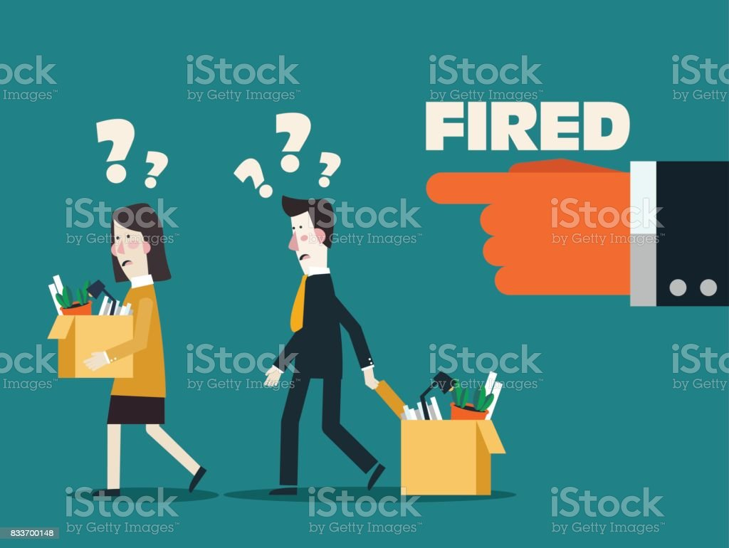 Dismissed frustrated business person holding a box with his things. Angry boss firing employee. Unemployment, crisis, jobless and employee job reduction concept vector design vector art illustration